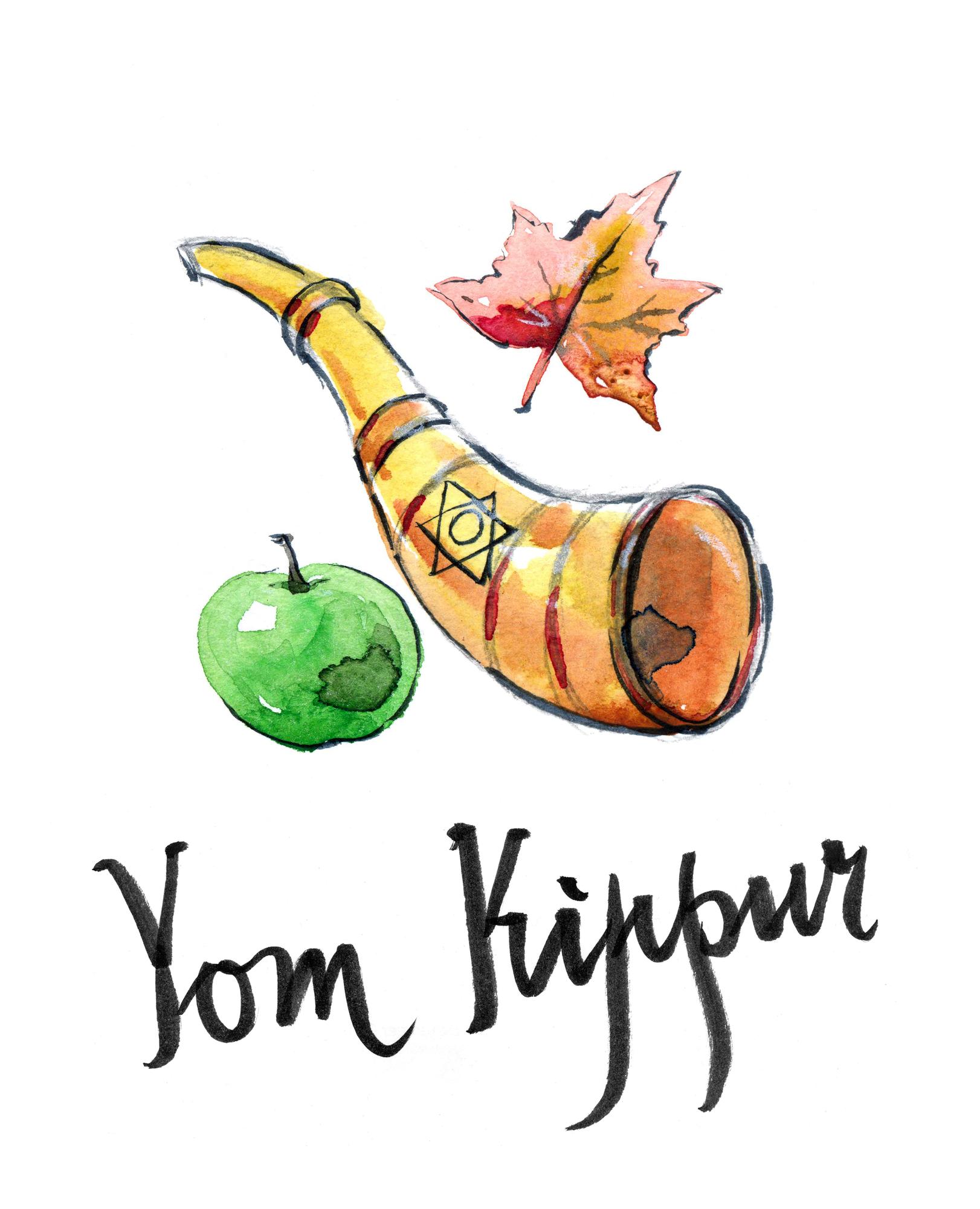 Watercolor shofar, star of David, apple and autumn leaf, hand drawn - Illustration