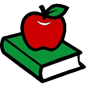 Red apple sitting on top of a green cover book